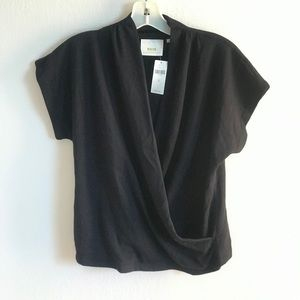 NWT M Anthropologie Maeve black wrap over top